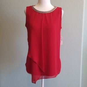 Elegant Red blouse with beautiful neckline detail